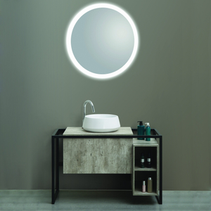 New Cement Gray Melamine Finish Matt Black Frame Free Standing Bathroom Furniture Vanity Set with LED Mirror