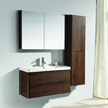 Wall Hanging PVC Thermoformed Modern Bathroom Basin Cabinet Vanity Set with Mirror Cabinet And Side Storage Cabinet
