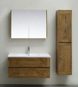 2020 New Wall Mounted Bathroom Cabinet Dark Wood Color Furniture