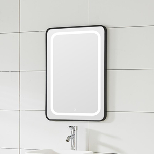 Vertical Line Copper-free Bathroom LED Mirror With Black Iron Frame