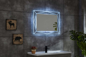 Horizonal Line Copper-free Bathroom LED Mirror With Three Colors