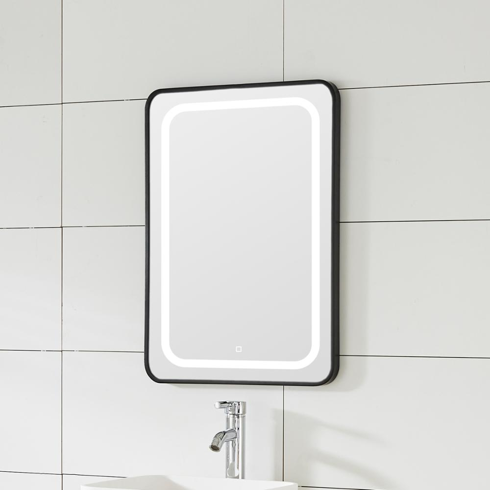LED MIRROR WITH BLACK IRON FRAME AND THE MIRROR WITH TOUCH SWITH