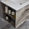 Bathroom Cabinets Wall Mounted Vanity With Matt Gray Wood Color