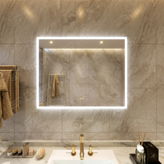LED Mirror With Lights Rectangle Mirror Bathroom Wall Super White Light
