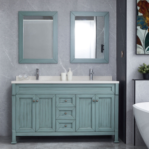 Blue Bathroom Cabinets Floor Double Basin Vanity